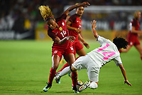 Carson, CA - Thursday August 03, 2017: Casey Short, Yu Nakasato during a 2017 Tournament of Nations match between the women's national teams of the United States (USA) and Japan (JPN) at the StubHub Center.