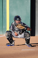 Iolana Akau (15) of the Stockton Ports catches in the bullpen before a game against the Rancho Cucamonga Quakes at LoanMart Field on July 3, 2016 in Rancho Cucamonga, California. Rancho Cucamonga defeated Stockton, 2-1. (Larry Goren/Four Seam Images)