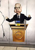 Caricature of Michael Gove on large advertisement board for satirical television puppet show Spitting Image inside Westminster Tube Station. London September 30th 2020<br /> <br /> Photo by Keith Mayhew