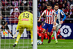 Angel Martin Correa of Atletico de Madrid and Diego Lopez of RCD Espanyol during La Liga match between Atletico de Madrid and RCD Espanyol at Wanda Metropolitano Stadium in Madrid, Spain. November 10, 2019. (ALTERPHOTOS/A. Perez Meca)