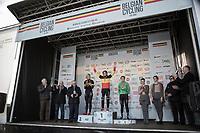 Women's Race Podium:<br /> <br /> 1st place: Sanne Cant (BEL/Iko-Beobank)<br /> 2nd place: Ellen Van Loy (BEL/Telenet Fidea Lions)<br /> 3th place: Loes Sels (BEL/Crelan Charles)<br /> <br /> Belgian National Cyclocross Championships 2018 / Koksijde