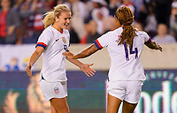HOUSTON, TX - JANUARY 31: Tobin Heath #7, Jessica McDonald #14 of the United States celebrate a goal together during a game between Panama and USWNT at BBVA Stadium on January 31, 2020 in Houston, Texas.