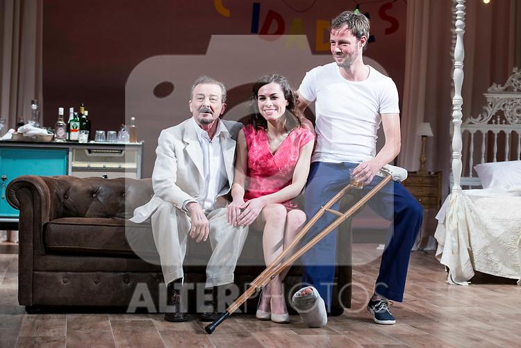 """Juan Diego, Begoña Maestre and Eloy Azorin during theater play of """"Una gata sobre un tejado de Cinc caliente"""" at Reina Victoria theater in Madrid, Spain. March 15, 2017. (ALTERPHOTOS/BorjaB.Hojas)"""