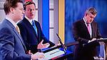 General Election the First TV Television debate. April 15th 2010. UK. Nick Clegg, David Cameron, Gordon Brown.