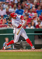 15 August 2017: Washington Nationals shortstop Wilmer Difo singles in the 3rd inning against the Los Angeles Angels at Nationals Park in Washington, DC. The Nationals defeated the Angels 3-1 in the first game of their 2-game series. Mandatory Credit: Ed Wolfstein Photo *** RAW (NEF) Image File Available ***