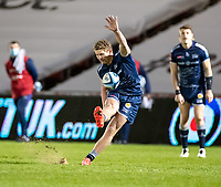 20th November 2020; AJ Bell Stadium, Salford, Lancashire, England; English Premiership Rugby, Sale Sharks versus Northampton Saints; Rob du Preez of Sale Sharks kicks an important late penalty for Sale to put them two scores ahead with just 4 minutes to go