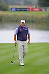ISPS Handa Wales Open Golf day two :  Lee Westwood pulls a face after his putt on the 13th green during the Celtic Manor course in Newport, UK this afternoon.