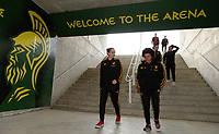 20180228 - LARNACA , CYPRUS :  Belgian Nicky Evrard and Kassandra Missipo pictured during a women's soccer game between Spain and the Belgian Red Flames , on friday 2 March 2018 at the AEK Arena in Larnaca , Cyprus . This is the second  game in group B for  Belgium during the Cyprus Womens Cup , a prestigious women soccer tournament as a preparation on the World Cup 2019 qualification duels. PHOTO SPORTPIX.BE | DAVID CATRY