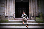 """© Joel Goodman - 07973 332324 . 30/06/2016 . Manchester , UK . RYAN STAVELEY , who appeared on the Channel 5 TV show """" Body Freak make me a perfect 10 """" , posing for photos in Manchester City Centre . He's been binding his feet to reduce his shoe size . Photo credit : Joel Goodman"""