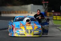 Jun. 18, 2011; Bristol, TN, USA: NHRA pro stock driver Greg Stanfield during qualifying for the Thunder Valley Nationals at Bristol Dragway. Mandatory Credit: Mark J. Rebilas-