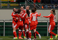 20160302 – DEN HAAG ,  NEDERLAND : Switzerland pictured celebrating the quick 1-0 lead during the Olympic Qualification Tournament  soccer game between the women teams of Switzerland and The Netherlands, The first game for both teams in the Olympic Qualification Tournament for the Olympic games in Rio de Janeiro - Brasil, Wednesday 2 March 2016 at Kyocera Stadium in The Hague , Netherlands  PHOTO DAVID CATRY