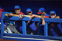 Frank Viola (far left) watches from the dugout during the game against the Southern Maryland Blue Crabs at Truist Point on June 18, 2021, in High Point, North Carolina. (Brian Westerholt/Four Seam Images)
