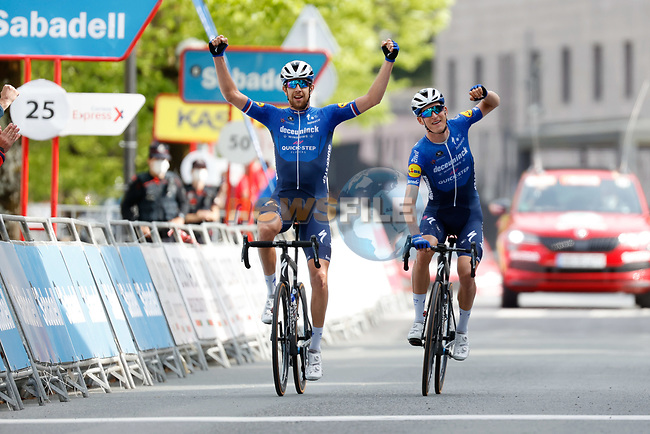 Mikkel Honoré (DEN) and Josef Cerny (CZE) Deceuninck-QuickStep in the lead approach the finish of Stage 5 of the Itzulia Basque Country 2021, running 160.2km from Hondarribia to Ondarroa, Spain. 9th April 2021.  <br /> Picture: Luis Angel Gomez/Photogomezsport   Cyclefile<br /> <br /> All photos usage must carry mandatory copyright credit (© Cyclefile   Luis Angel Gomez/Photogomezsport)