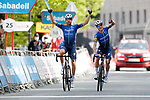 Mikkel Honoré (DEN) and Josef Cerny (CZE) Deceuninck-QuickStep in the lead approach the finish of Stage 5 of the Itzulia Basque Country 2021, running 160.2km from Hondarribia to Ondarroa, Spain. 9th April 2021.  <br /> Picture: Luis Angel Gomez/Photogomezsport | Cyclefile<br /> <br /> All photos usage must carry mandatory copyright credit (© Cyclefile | Luis Angel Gomez/Photogomezsport)