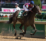 LOUISVILLE, KY - MAY 06:  Carina Mia #5, ridden by Julien R. Leparoux, wins the Eight Belles Stakes on May 6, 2016 in Louisville, Kentucky. (Photo by Zoe Metz/Eclipse Sportswire/Getty Images)
