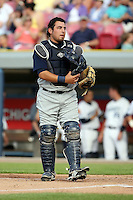 June 15 2008:  Catcher Ali Solis (28) of the Fort Wayne Wizards, Class-A affiliate of the San Diego Padres, during a game at Fifth Third Field in Comstock Park, MI.  Photo by:  Mike Janes/Four Seam Images