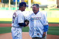 Chicago Cubs Hall of Fame infielder, now coach for the Lehigh Valley IronPigs, Ryne Sandberg with fellow hall member Tom Seaver after throwing out the first pitch during the Triple-A All-Star Game Coca-Cola Field on July 11, 2012 in Buffalo, New York.  The Pacific Coast League defeated the International League 3-0.  (Mike Janes/Four Seam Images via AP Images)