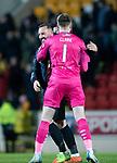 St Johnstone v Kilmarnock…24.11.18…   McDiarmid Park    SPFL<br />Kris Boyd hugs Zander Clark at full time<br />Picture by Graeme Hart. <br />Copyright Perthshire Picture Agency<br />Tel: 01738 623350  Mobile: 07990 594431