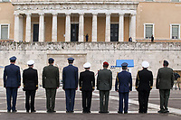 Pictured: Members of the Armed Forces at the Monument to the Unknown Soldier outside the Greek Parliament in Syntagma Square, Athens, Greece.<br /> Re: Official visit of German Chancellor Angela Merkel  to Athens, Greece.