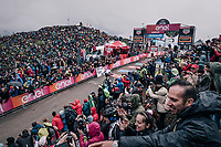 Chris Froome (GBR/SKY) winning up the infamous Monte Zoncolan (1735m/11%/10km) <br /> <br /> stage 14 San Vito al Tagliamento – Monte Zoncolan (186 km)<br /> 101th Giro d'Italia 2018