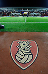 Rotherham 1 Sheffield Wednesday 2, 23/10/2015. New York Stadium, Championship. Second-half goals from Lucas Joao and Fernando Forestieri gave Sheffield Wednesday a derby victory at Rotherham. Rotherham United logo inside The New York Stadium. Photo by Paul Thompson.