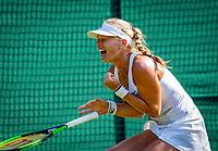 London, England, 6 th. July, 2018, Tennis,  Wimbledon, Womans singel third round, Kiki Bertens (NED) defeats Venus Williams (USA) and celebrates<br /> Photo: Henk Koster/tennisimages.com