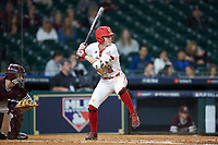 Hayden Cantrelle (5) of the Louisiana Ragin' Cajuns at bat against the Mississippi State Bulldogs in game three of the 2018 Shriners Hospitals for Children College Classic at Minute Maid Park on March 2, 2018 in Houston, Texas.  The Bulldogs defeated the Ragin' Cajuns 3-1.   (Brian Westerholt/Four Seam Images)