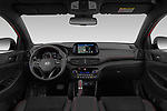 Stock photo of straight dashboard view of a 2019 Hyundai Tucson N-Line 5 Door SUV