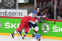 29th May 2021; Olympic Sports Centre, Riga, Latvia; IIHF World Championship Ice Hockey, Czech Republic versus Great Britain;  95 Matej Blumel Czech Republic charges into 28 Ben Oconnor Great Britain