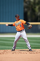 Baltimore Orioles shortstop Adrian Marin (2) throws to first base during a minor league Spring Training game against the Boston Red Sox on March 16, 2017 at the Buck O'Neil Baseball Complex in Sarasota, Florida.  (Mike Janes/Four Seam Images)