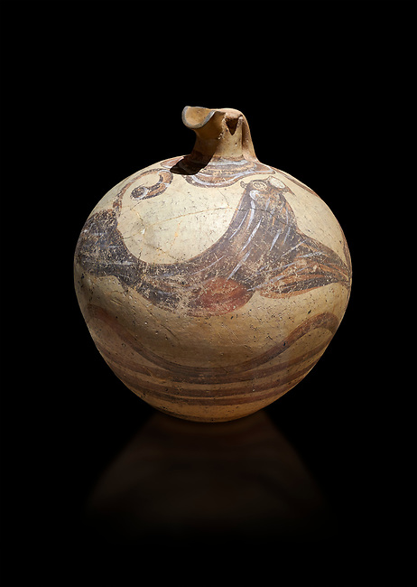'Flying gallop' clay vase. Minoan Polychrome arge jug with eyes on its spout and lions or panthers, Akrotiri, Thira (Santorini) National Archaeological Museum Athens. 17th-16th cent BC.<br /> <br /> This fine example of Minoan Theran polychrome pottery depicts two lions or panthers in full flight with two eyes on its spout. By the same painter as the 'Dolphing Jugs'  From the French Archaeological School in Athens collection.