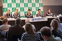 12-09-12, Netherlands, Amsterdam, Tennis, Daviscup Netherlands-Swiss, Press-conference Netherlands, l.t.r.: Captain Jan Siemerink, Thiemo de Bakker, Robin Haase,Jean-Julien Rojer and Igor Sijsling.