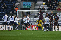Leroy Fer of Swansea City jumps from the wall while Andrew Hughes of Preston North End (16) takes a free kick during the Sky Bet Championship match between Preston North End and Swansea City at Deepdale, Preston, England, UK. Saturday 12 January 2019