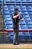 Umpire Ryan Wills during a game between the Richmond Flying Squirrels and Binghamton Mets on June 26, 2016 at NYSEG Stadium in Binghamton, New York.  Binghamton defeated Richmond 7-2.  (Mike Janes/Four Seam Images)