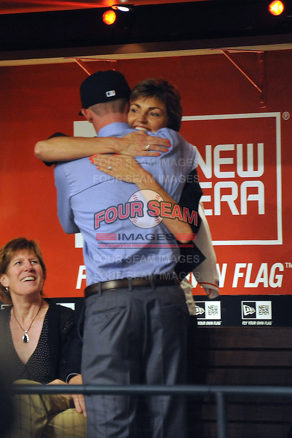 Pitcher Andrew Heaney (Oklahoma State) the number nine overall pick to the Miami Marlins with family during the MLB Draft on Monday June 04,2012 at Studio 42 in Secaucus, NJ.   (Tomasso DeRosa / Four Seam Images)
