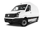 Stock pictures of low aggressive front three quarter view of a 2014 Volkswagen CRAFTER 2.0TDI 4 Door Cargo Van Low Aggressive