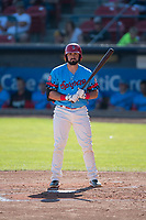 Spokane Indians left fielder Tanner Gardner (44) at bat during a Northwest League game against the Vancouver Canadians at Avista Stadium on September 2, 2018 in Spokane, Washington. The Spokane Indians defeated the Vancouver Canadians by a score of 3-1. (Zachary Lucy/Four Seam Images)