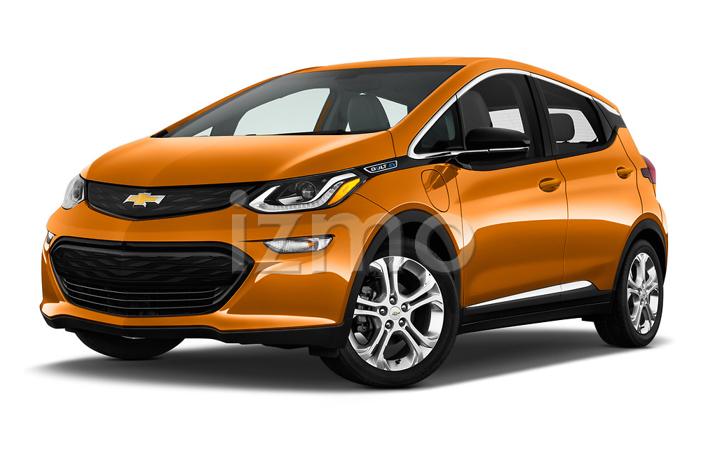 Stock pictures of low aggressive front three quarter view of 2017 Chevrolet Bolt-EV LT 5 Door Hatchback Low Aggressive