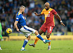 St Johnstone v Galatasaray…12.08.21  McDiarmid Park Europa League Qualifier<br />Ryan Babel is tackled by Shaun Rooney<br />Picture by Graeme Hart.<br />Copyright Perthshire Picture Agency<br />Tel: 01738 623350  Mobile: 07990 594431