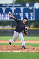 GCL Yankees West relief pitcher Jairo Garcia (63) delivers a pitch during the first game of a doubleheader against the GCL Yankees East on July 19, 2017 at the Yankees Minor League Complex in Tampa, Florida.  GCL Yankees West defeated the GCL Yankees East 11-2.  (Mike Janes/Four Seam Images)