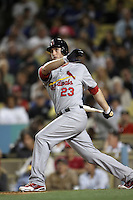 David Freese #23 of the St.Louis Cardinals bats against the Los Angeles Dodgers at Dodger Stadium on May 18, 2012 in Los Angeles,California. Los Angeles defeated St.Louis 6-5.(Larry Goren/Four Seam Images)