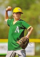 26 May 2012: The Burlington American Athletics in Little League action against the Burlington American Mariners at Calahan Park in Burlington, Vermont. Mandatory Credit: Ed Wolfstein Photo
