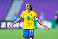 ORLANDO, FL - FEBRUARY 18: Marta #10 of Brazil yells to her team during a game between Argentina and Brazil at Exploria Stadium on February 18, 2021 in Orlando, Florida.