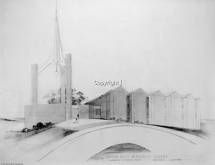 Penn Hills PA:  Studio photography of the rendering for the Penn Hills Methodist Church created by Lawrence & Anthony Wolfe architects.