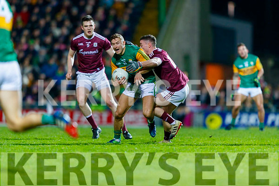 James O'Donoghue, Kerry in action against Eamonn Brannigan, Galway during the Allianz Football League Division 1 Round 2 match between Kerry and Galway at Austin Stack Park in Tralee, Kerry.