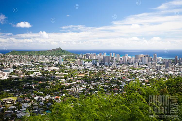 Diamond Head, Kaimuki and Waikiki, as seen from the Tantalus Lookout in Honolulu, O'ahu.