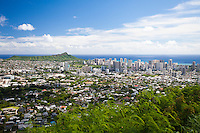 Diamond Head, Kaimuki and Waikiki, as seen from the Tantalus Lookout in Honolulu, O'ahu.