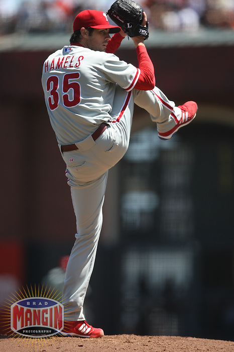 SAN FRANCISCO - AUGUST 2:  Cole Hamels #35 of the Philadelphia Phillies pitches against the San Francisco Giants during the game at AT&T Park on August 2, 2009 in San Francisco, California. Photo by Brad Mangin