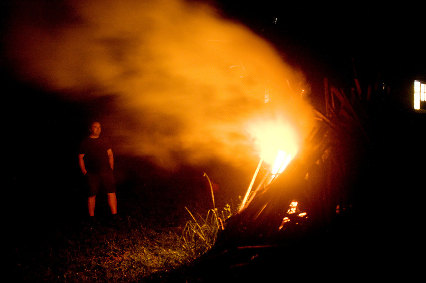 The summer receives the welcome in a Basque farmhouse of Intza village on June 22, 2014, Basque Country. Coinciding with the summer solstice, the change of season was celebrated in the farmhouse with a dinner, music, friends and a around a bonfire. (Ander Gillenea / Bostok Photo)