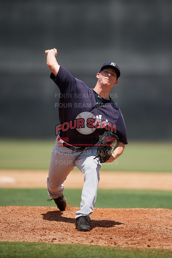 GCL Yankees East relief pitcher Keegan Curtis (7) delivers a pitch during a game against the GCL Yankees West on August 8, 2018 at Yankee Complex in Tampa, Florida.  GCL Yankees West defeated GCL Yankees East 8-4.  (Mike Janes/Four Seam Images)